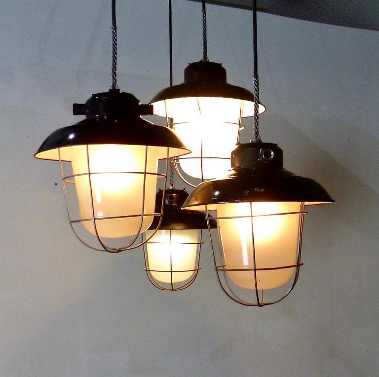 Spanish European Black Enamel Industrial Lights, circa 1930 For Sale