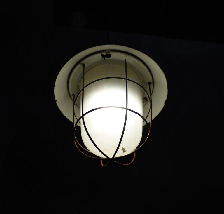 European Black Enamel Industrial Lights, circa 1930 In Good Condition For Sale In Surrey, BC