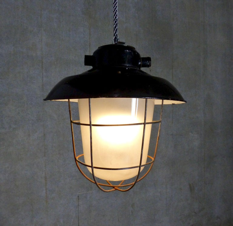 Mid-20th Century European Black Enamel Industrial Lights, circa 1930 For Sale
