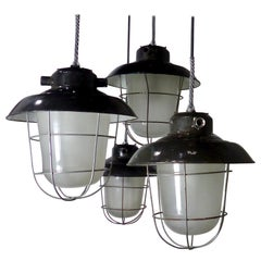 European Black Enamel Industrial Lights, circa 1930