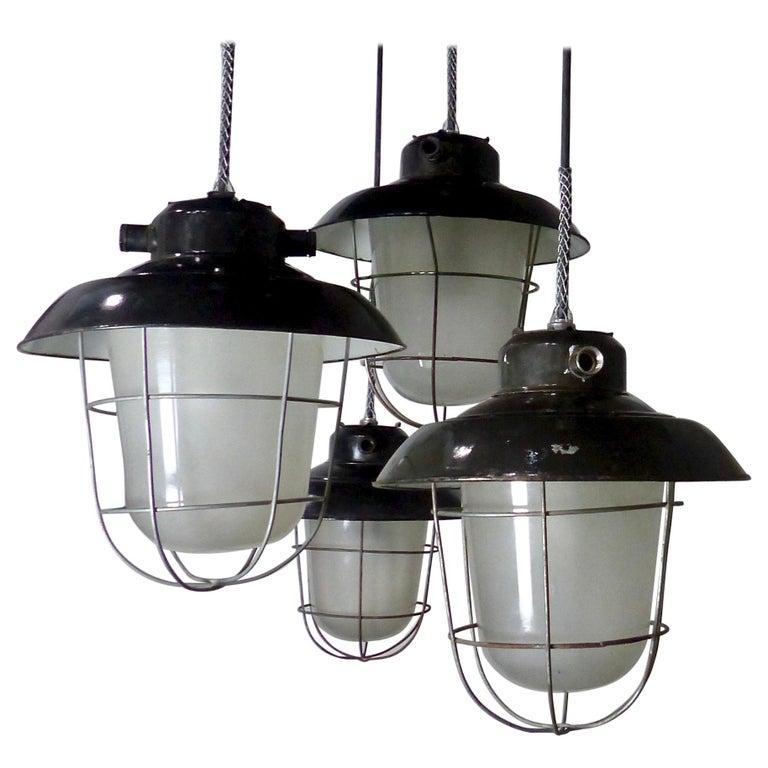 European Black Enamel Industrial Lights, circa 1930 For Sale