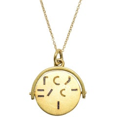 """Gold """"I Love You"""" Spinner Pendant Necklace, circa 1930"""