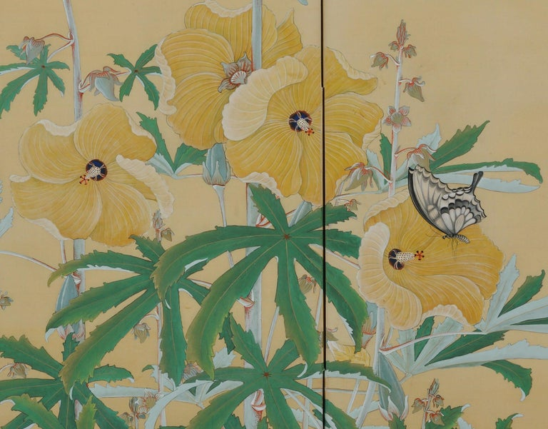 Flowers and insects  circa 1930  Two-panel Japanese folding screen.  Signature: Hekisui  Seal: Hekisui  A two-panel Japanese folding screen, painted on silk in mineral pigments, gofun or clam shell gesso, and sumi ink with a summer scene