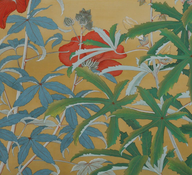 Showa Japanese Nihonga Screen, Flowers & Insects, Mineral Pigments on Silk, circa 1930 For Sale