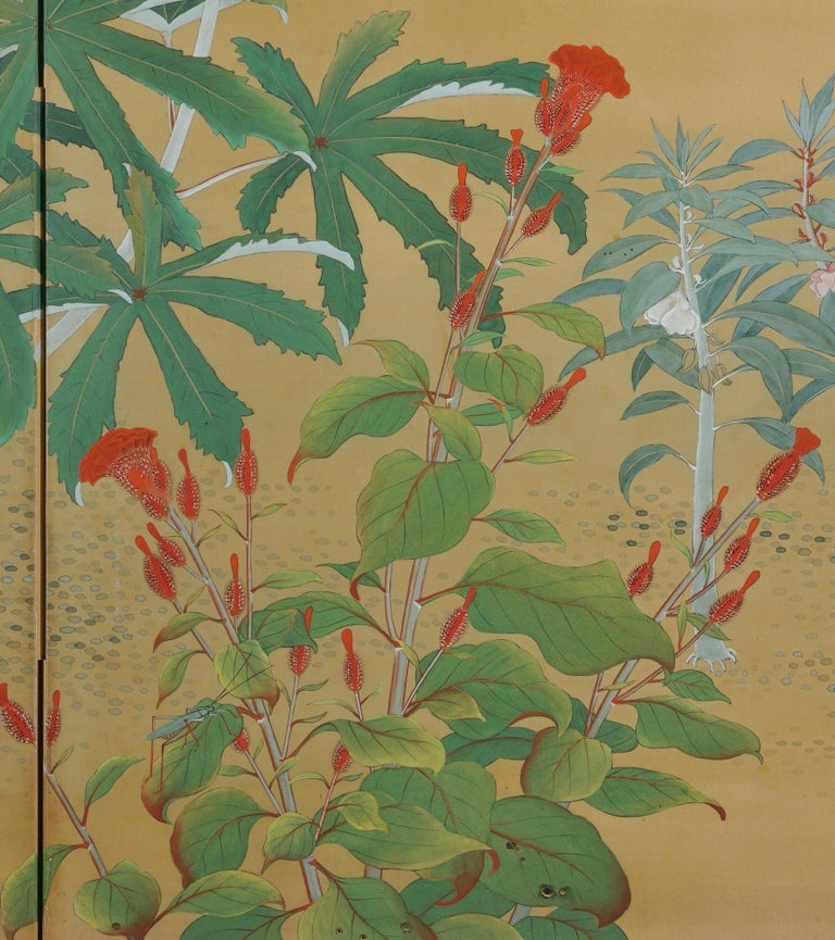 Hand-Painted Japanese Nihonga Screen, Flowers & Insects, Mineral Pigments on Silk, circa 1930 For Sale