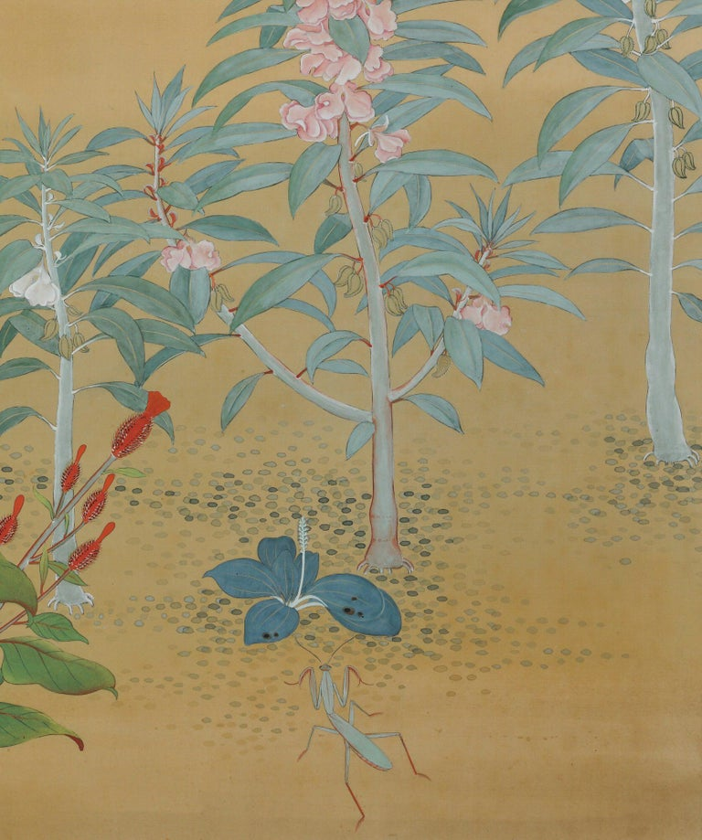 Japanese Nihonga Screen, Flowers & Insects, Mineral Pigments on Silk, circa 1930 In Good Condition For Sale In Kyoto, JP