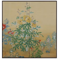Japanese Nihonga Screen, Flowers & Insects, Mineral Pigments on Silk, circa 1930