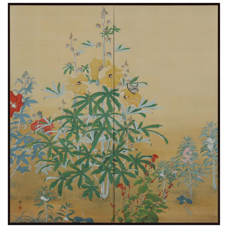 Japanese Nihonga Screen, Flowers & Insects, Mineral Pigments on Silk, circa 1930 For Sale