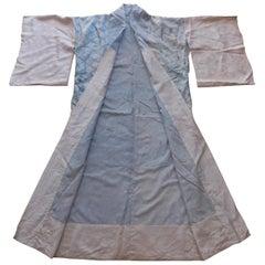 Japanese Silk Shibori Hand Dyed Juban Blue and White Kimono, circa 1930