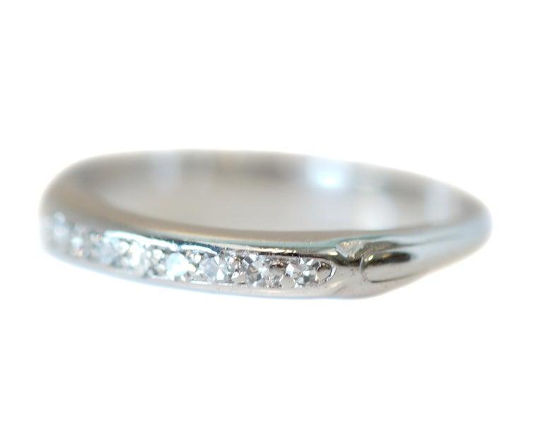 Art Deco .08 Carat Platinum Diamond 8-Stone Wedding Band, circa 1930s For Sale