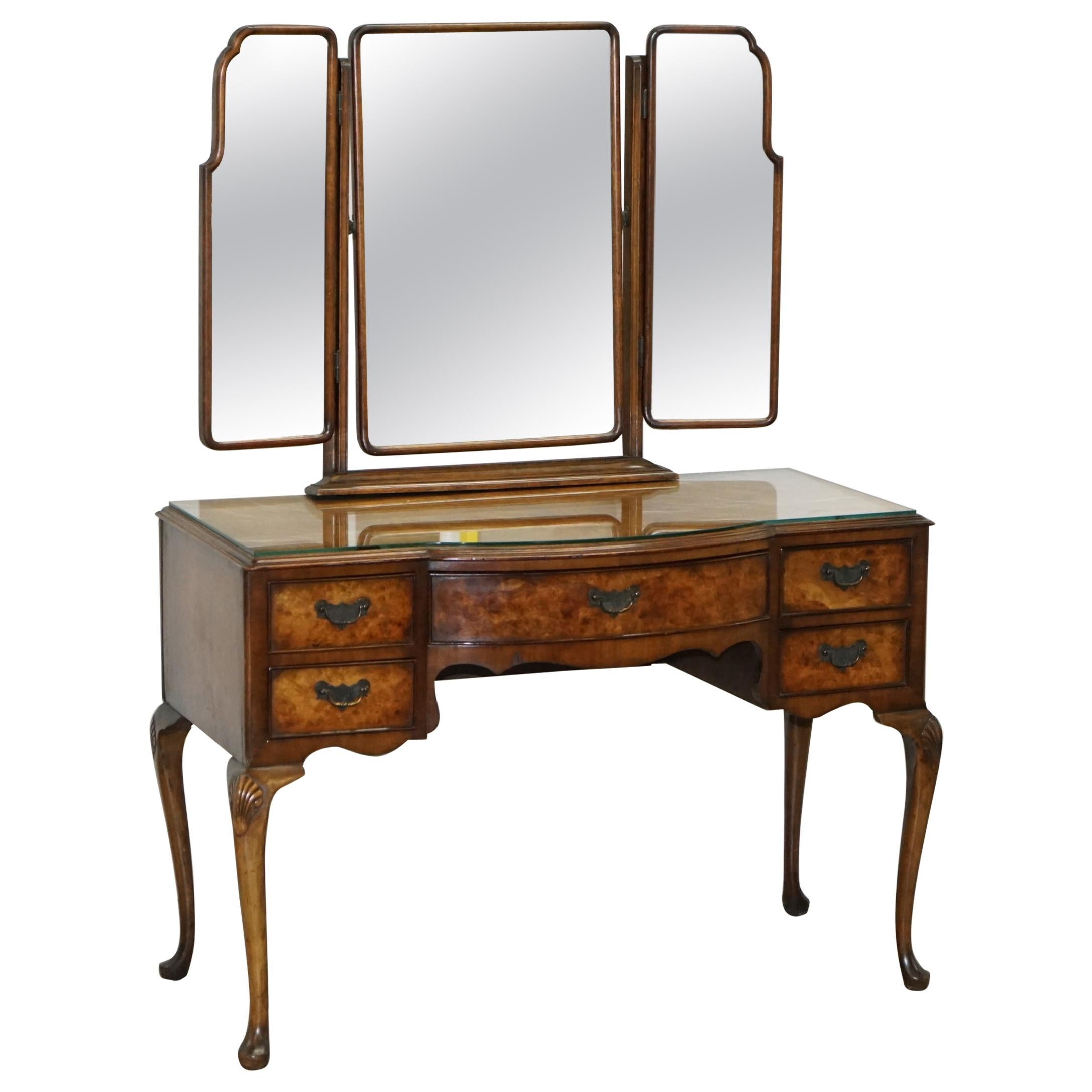Burr & Burl Walnut Dressing Table with Trifold Mirrors & Glass Top, circa 1930s
