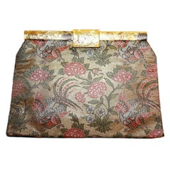 Circa 1930's French Bird Motif Brocade Purse with Matching Frame and Fabric
