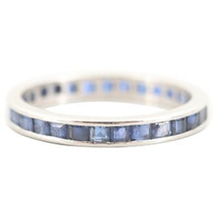 Platinum Art Deco Blue Sapphire Eternity Band, circa 1930s