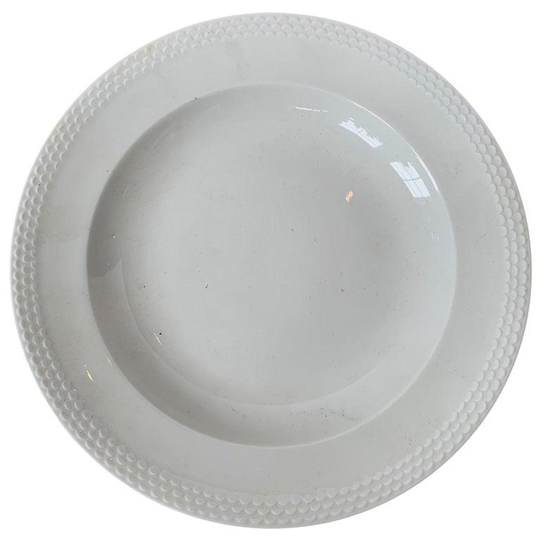 """Marked Meissen """"Weiss Geschirr"""" German White Porcelain Plate, circa 1934 For Sale"""