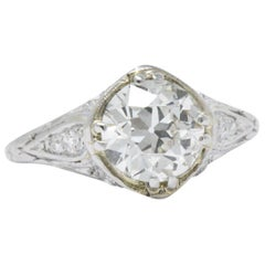 Early Retro 1.76 CTW Old European Diamond Platinum Engagement Ring GIA