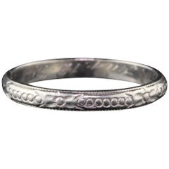 Vintage Estate Platinum Engraved Wedding Band, circa 1939