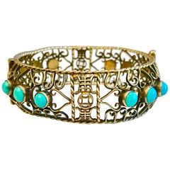 Circa 1940 Chinese Gold, Sterling and Turquoise Bangle