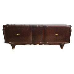 Deco Diamond Matchbook Rosewood 6 Drawer French Buffet, circa 1940