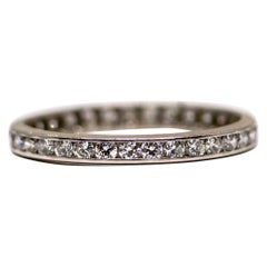0.75 Carat Diamond Vintage Platinum Eternity Band, circa 1940s