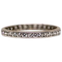 Art Deco Platinum 0.75 Carat Vintage Diamond Eternity Band, circa 1940s