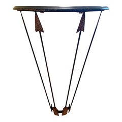 Circa 1940s Art Deco Style Demilune Wall Mount Iron Console with Metal Arrows