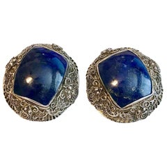 Circa 1940s Chinese Sterling Silver and Lapis Cabochon Earrings