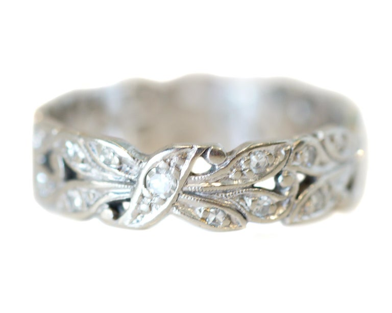 Description:  This beautiful 1940's late Art Deco piece features an elegant scroll design accented with single cut diamonds with cool and classy floral vibes  The perfect ring for any occasion or daily wear! Would make a lovely addition to your