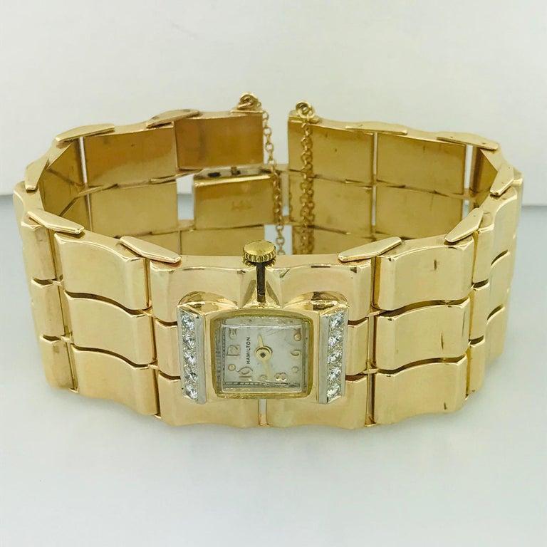 Women's or Men's .65 Carat Diamond Ladies Vintage Dress Watch 14 Karat Yellow Gold, circa 1950 For Sale
