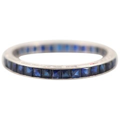 Art Deco Platinum 1 Carat Synthetic Blue Sapphire Eternity Band, circa 1950s