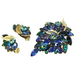 Circa 1950's Brooch and Clip Earrings Suite by Alice Caviness
