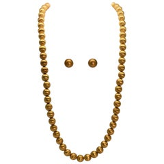 Brushed 18 Karat Gold Bead Necklace and Earring Set, circa 1950s