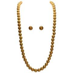 Satin 18 Karat Gold Bead Necklace and Earring Set