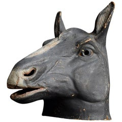 French Papier Mâché Theatre Horse Head from Paris, circa 1950s