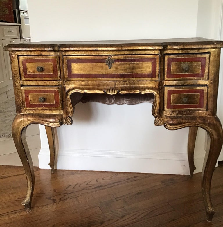Hand painted Venetian style desk. Some ware on surface.