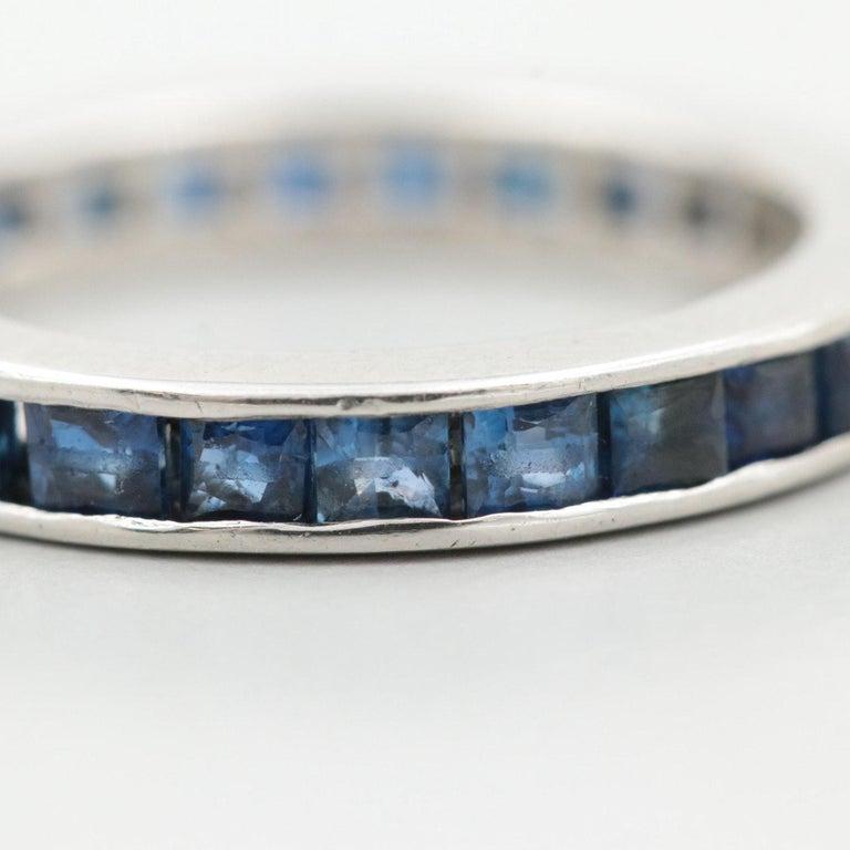 Art Deco Platinum Blue Sapphire Scissor Cut Eternity Band, circa 1950s For Sale