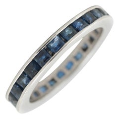 Platinum Blue Sapphire Scissor Cut Eternity Band, circa 1950s