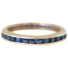 Retro 14K Gold 1.50 Carat French Square Cut Sapphire Wedding Band, circa 1950s