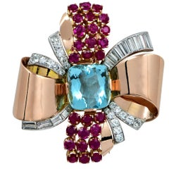 Retro Aquamarine Diamond Ruby Rose Gold Ribbon Brooch Pin