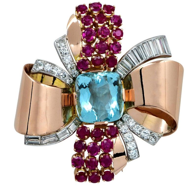 Retro Aquamarine Diamond Ruby Rose Gold Ribbon Brooch Pin