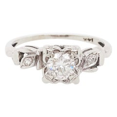 0.50 Carat Round Brilliant Diamond Estate Engagement Ring 14 Karat, circa 1953