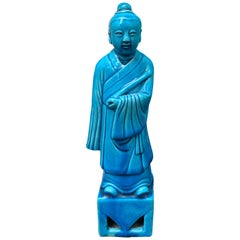 Chinese Turquoise Blue Porcelain Standing Buddha Figure Marked circa 1960s-1970s