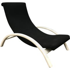 Elegant Infinitely Adjustable Easy Chair in Black Fabric & White Wood circa 1960
