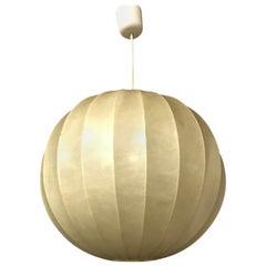 Spherical Cocoon Warm Light Pendant Lamp Plastic on Thin Metal Frame, circa 1960