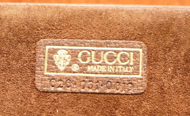 Gucci Brown Leather Brass Bucket Desk Stationary Set Pen Pad Write, circa 1960s For Sale 5