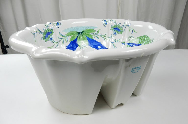 Gorgeous scalloped over edge basin/sink from the Sherle Wagner collection circa 1960s. Porcelain hand painted design, glossy white.