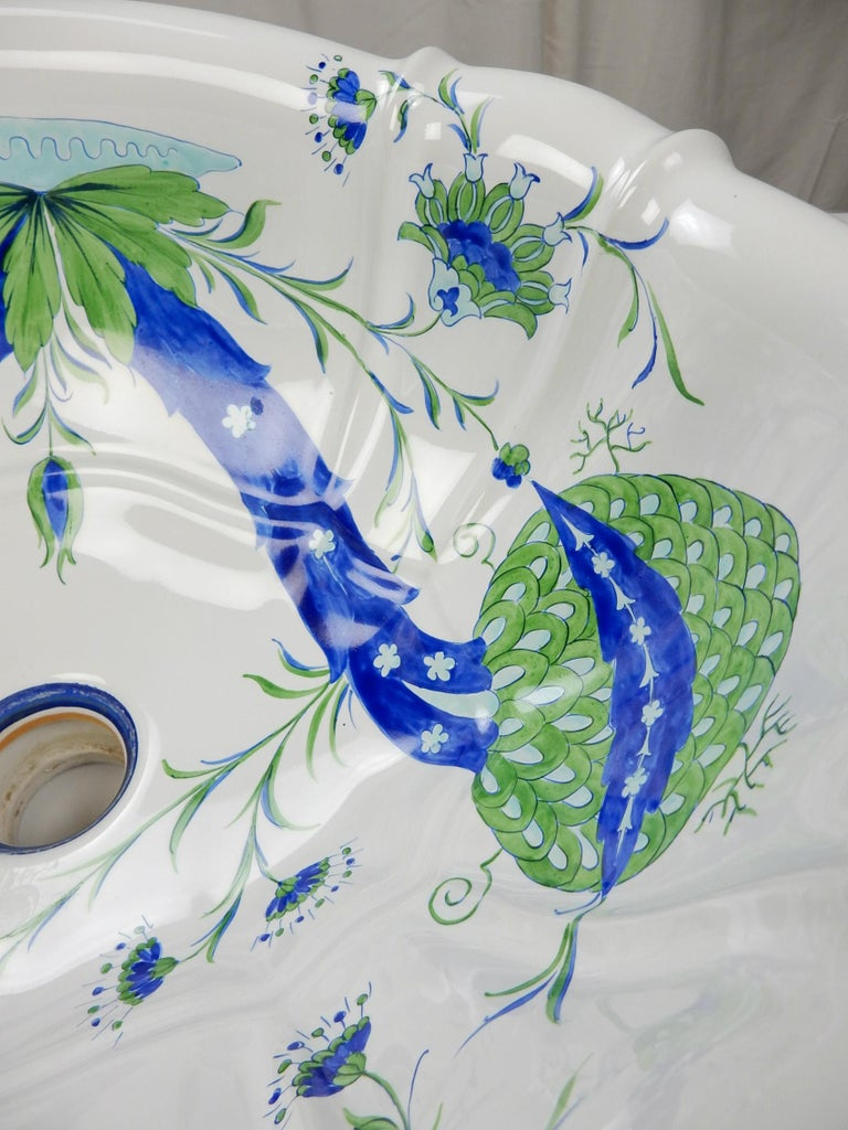Porcelain Italian Bathroom Basin Sink from Sherle Wagner Collection, circa 1960s For Sale