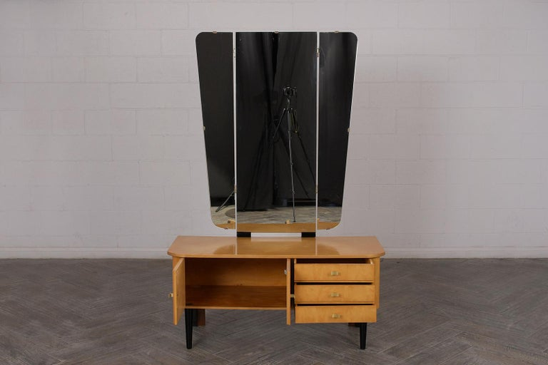 Brass Modern Lacquered Finish Dressing Table, circa 1960s For Sale