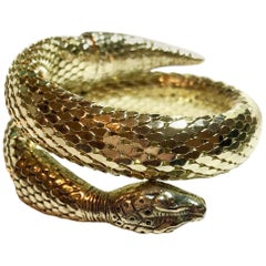 Circa 1960s Whiting & Davis Gold Metal Mesh Snake Bracelet
