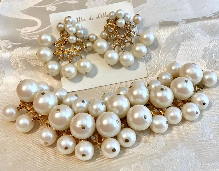 d011f3f3b1945 Circa 1960s William deLillo Faux-Pearl Bracelet and Earrings