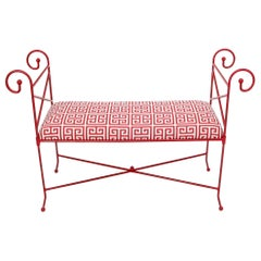 Circa 1960s Wrought Iron Window Bench Fully Restored New Red Lacquer Upholstery